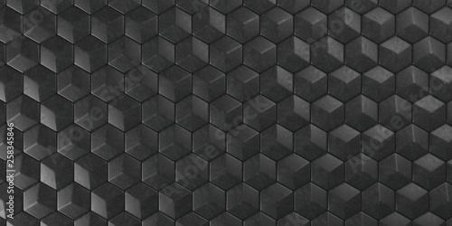 3D Geometric Abstract Hexagonal Wallpaper Background - 258345846