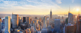 Panoramic panoramic view of Empire State Building and Manhatten skyline at sunset new york city new york usa
