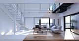 Fototapeta Do pokoju - Spacious open plan living room design mockup