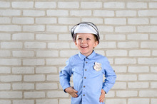 Portrait 4-year-old Boy Plays Policeman, Childhood Dreams, Choice Of Profession