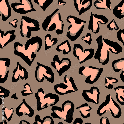 plakat Leopard pattern. Seamless vector print. Abstract repeating pattern - heart leopard skin imitation can be painted on clothes or fabric.