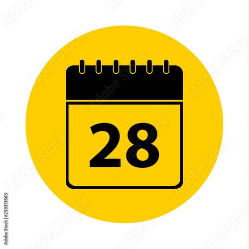 Fotografia  28 Calendar Yellow Vector Icon