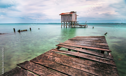 Fotografie, Obraz  A long exposure of the Caribbean Sea from a dock