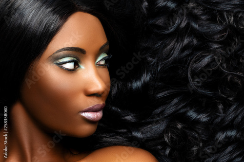 Macro close up of African woman with professional make up. #258358060