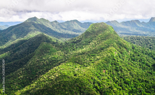 Mountains covered with pristine primary forest dominate the landscape in this aerial shot of the Cockscomb Basin, Belize Canvas Print