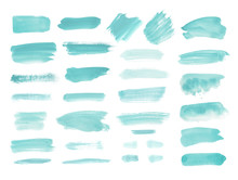 Watercolor Design Elements In Mint, Teal, Blue Green. Brush Stokes, Splashes, Splatters, Blobs. Hand Drawn, Painted Texture Background.