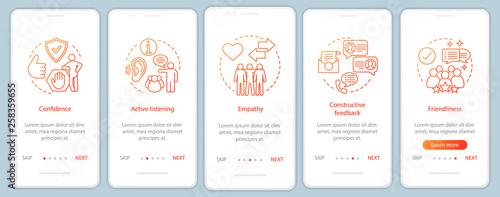 Fotografia  HR soft qualities onboarding mobile app page screen vector templ