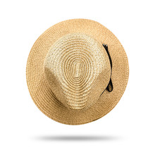 Straw Hat Isolated On White Background. Panama Hat Style With Black Ribbon. ( Clipping Path )