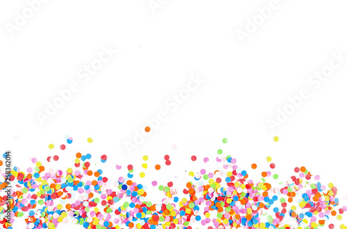 Obraz Colorful assorted confetti with serpentine on white - fototapety do salonu