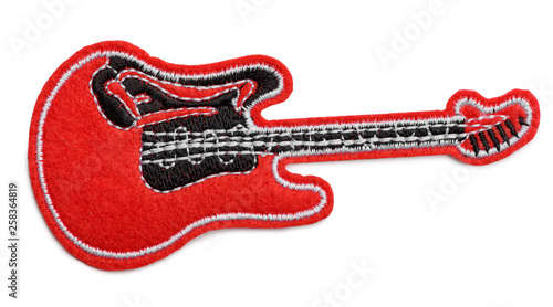 Red electro guitar fabric patch - 258364819