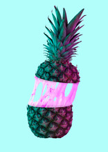 A Paradox. An Alternative Colorful Pineapple Filled With Cream Or Pink Bubblegym Against Blue Background. Modern Design. Food Concept. Contemporary Art Collage. Negative Space To Insert Your Text.