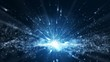 Seamless loop, blue background, digital signature with wave particles, sparkle, veil and space with depth of field. The particles are white light lines.