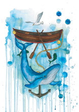 Whale Under Boat Watercolour Illustration