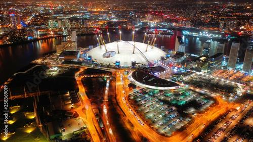 Fototapeta Aerial night shot from iconic O2 Arena in Greenwich Peninsula obraz na płótnie