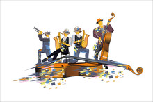 Abstract Colorful Musicians At...
