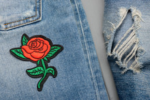 Red Rose Embroidered Patch