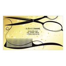 Scissors With A Comb Gold Business Card For A Beauty Salon