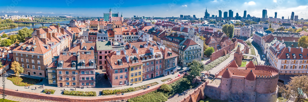 Fototapety, obrazy: Panoramic view of Warsaw in a summer day n Poland. Old town and Center of Town