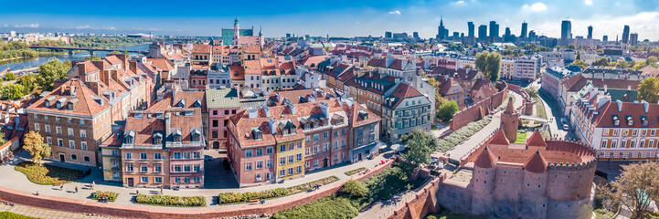 Fototapeta Warszawa Panoramic view of Warsaw in a summer day n Poland. Old town and Center of Town