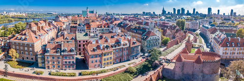 Panoramic view of Warsaw in a summer day n Poland. Old town and Center of Town - 258379808