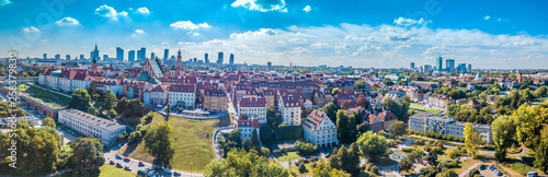 Photo  Panoramic view of Warsaw in a summer day n Poland