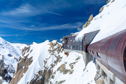 view on Aiguille du Midi in Mont Blanc massif, Chamonix, France Canvas Print