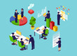 Isometric vector of business people and customers interacting at workplace