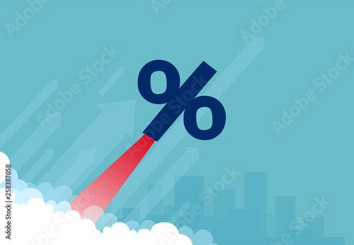 Fotografía Vector of a rocket percentage symbol flying up