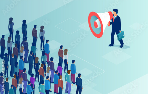 vector of a businessman or politician with megaphone making an announcement to a crowd of people Fotobehang