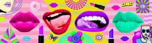 Contemporary Zine Art Collage. Lips. Fashion Lipstick Concept