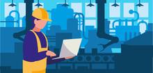 Worker In Factory Workplace
