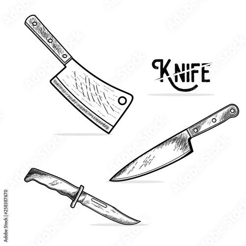 Obraz na płótnie Cleaver and knife icon. Vector illustration