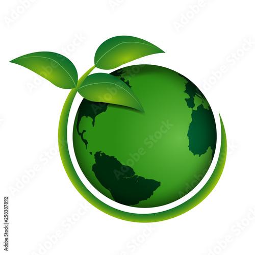Pianeta terra ecologico con pianta verde intorno Fototapeta