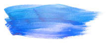 Blue Watercolor Blot With Inked Brush And Paper Texture Hand-drawn.