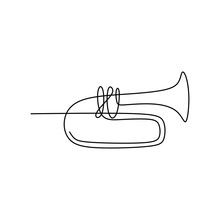 Picture Of A Continuous Line Of Trumpet Musical Instruments.