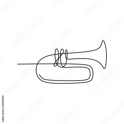 Photo picture of a continuous line of trumpet musical instruments.
