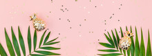 Creative Pink Background With Tropical Palm Leaves