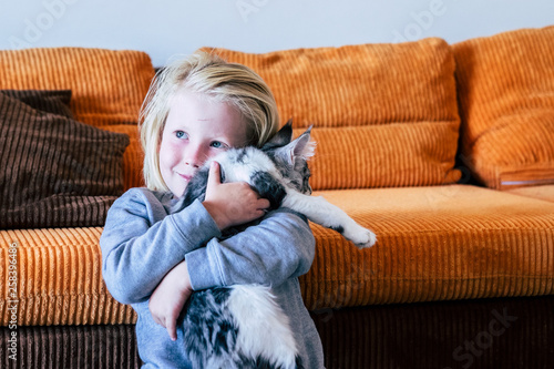 Fotografia  Young happy cheerful cacuasian boy taking at home his own white and grey cat wit