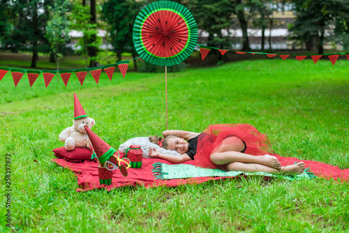 Photo  Watermelon party, picnic for children in park