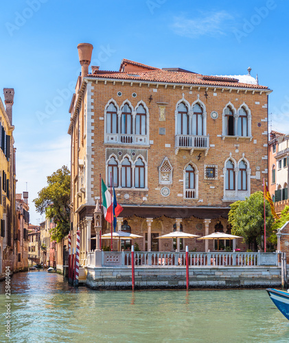 Cityscape Of Venice Italy Vintage Hotel Or Residential Building In