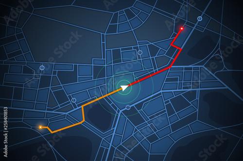 Obraz na płótnie navigation map screen