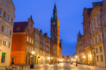 Obraz na Szkle Gdańsk Architecture of the old town in Gdansk at dawn, Poland
