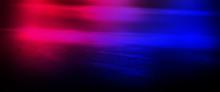 Wet Asphalt, Reflection Of Neon Lights, A Searchlight, Smoke.  Smoke, Smog. Dark Background Scene Of Empty Street, Night View, Night City. Neon Red And Blue Light.