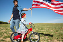 Man And Daughter With Bicycle ...