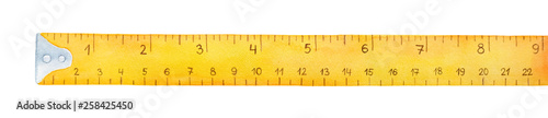 Obraz Yellow measuring tape watercolor illustration. Dual scales for metric and imperial units. One single object, above view. Hand drawn water color graphic painting on white, cut out element for design. - fototapety do salonu