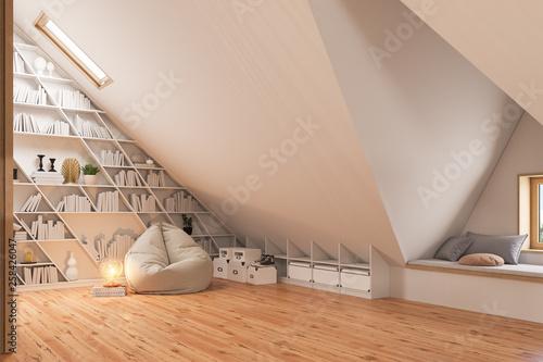 Obraz na plátně 3d render interior design of the attic floor of a private cottage
