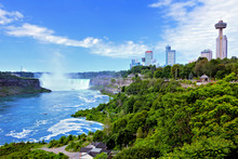 Canadian Side Of Niagara Falls Along With City Skyline During Summer, Ontario, Canada