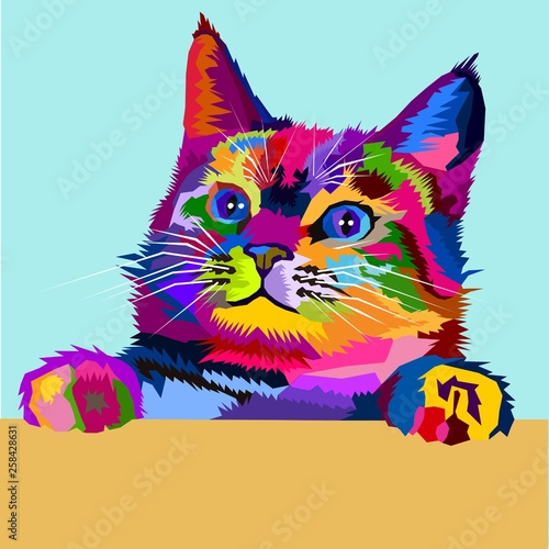 Colorful Cute Kitten Pop Art Wallpaper Mural