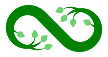Infinity Flourish Symbol Icon - Green, Isolated - Vector