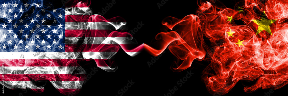 Fototapety, obrazy: United States of America vs China, Chinese smoky mystic flags placed side by side. Thick colored silky smoke flags of America and China, Chinese